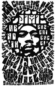 Jimi Hendrix Black & White Poster